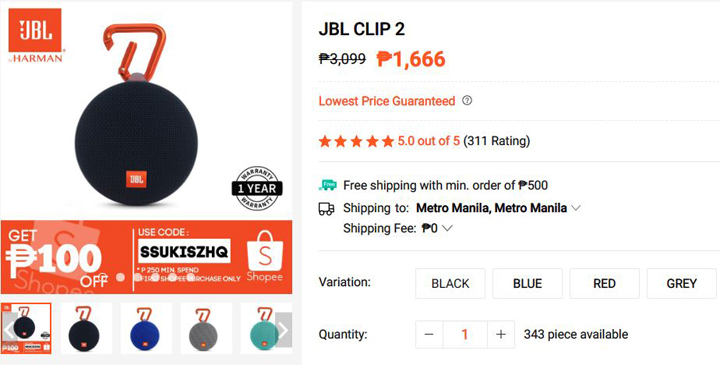 JBL Clip 2 price at Shopee Gadget Zone