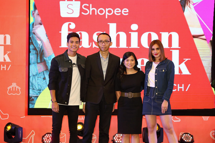 (L-R) Bench model Marco Gumabao, Bench General Manager Jude Ong, Director of Shopee Philippines Jane Lim, Bench Model Max Collins