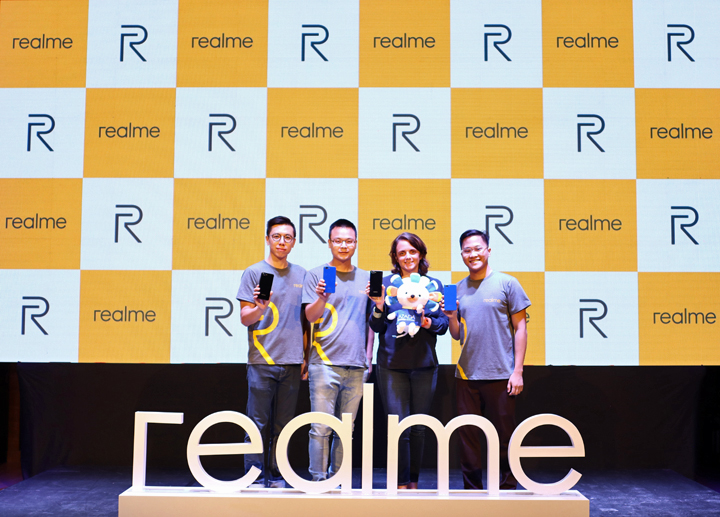 (L-R) Photo shows Realme Philippines Chief Operating Officer Jacky Chen, Realme Philippines Chief Executive Officer Neil Zou, Lazada PH Country Chief Business Officer Emmanuelle Chavarot and Realme Philippines Marketing Lead Eason de Guzman during Realme's official launch earlier today.