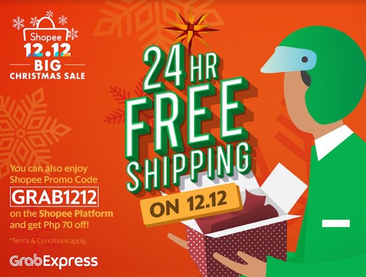 Enjoy same day delivery and P70 off from GrabExpress during Shopee 12.12 Christmas Sale
