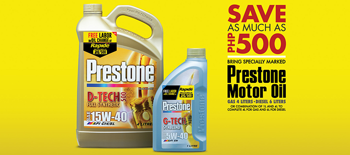 Treat your car well with Prestone and Rapide