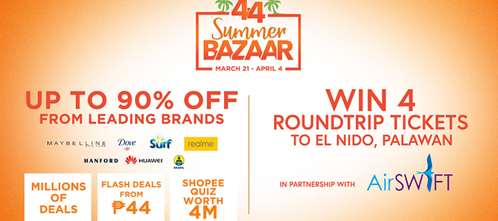 A Summer Getaway and Discounts up to 90% off heat up the Shopee 4.4 Summer Bazaar on April 4