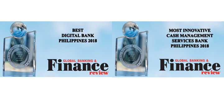 """Global Banking and Finance Review awards UnionBank """"Best Digital Bank Philippines 2018"""" and """"Most Innovative Cash Management Services Bank Philippines 2018"""