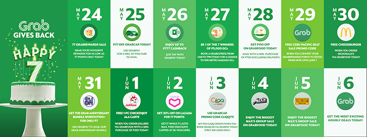 Daily deals for Grab users and partners, raffle promo for users, and GrabShare flat fare promo.