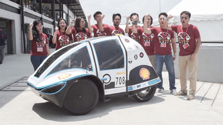 University of the Philippines-Diliman's Dagisik UP with their UrbanConcept Millage Challenge 8th placer, Siglo 3.0 during the Shell Eco-Marathon Asia 2019
