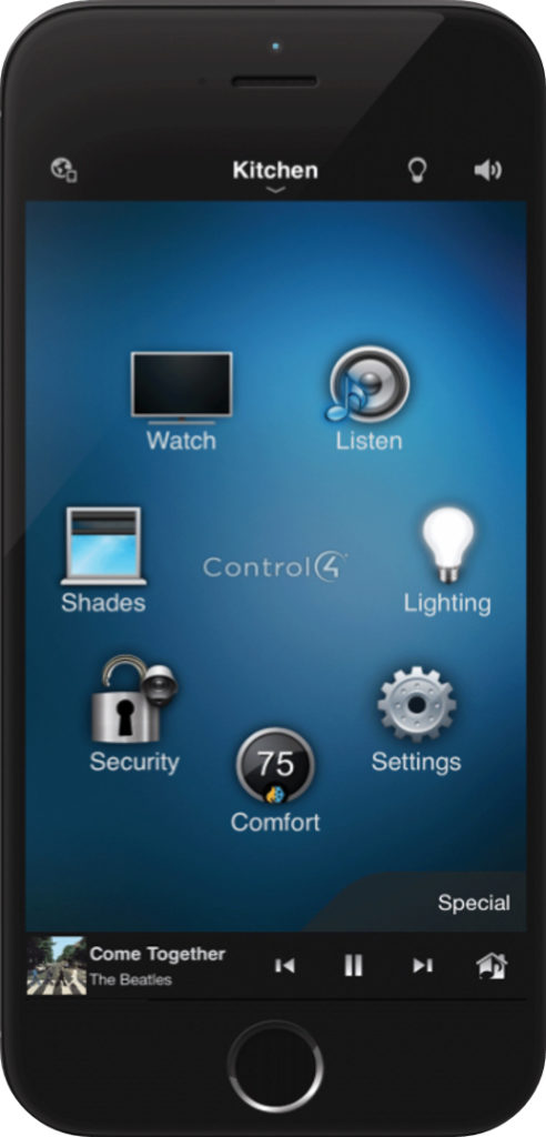 Control4 One app for the entire house - controls the shades, thermostat, and light bulb