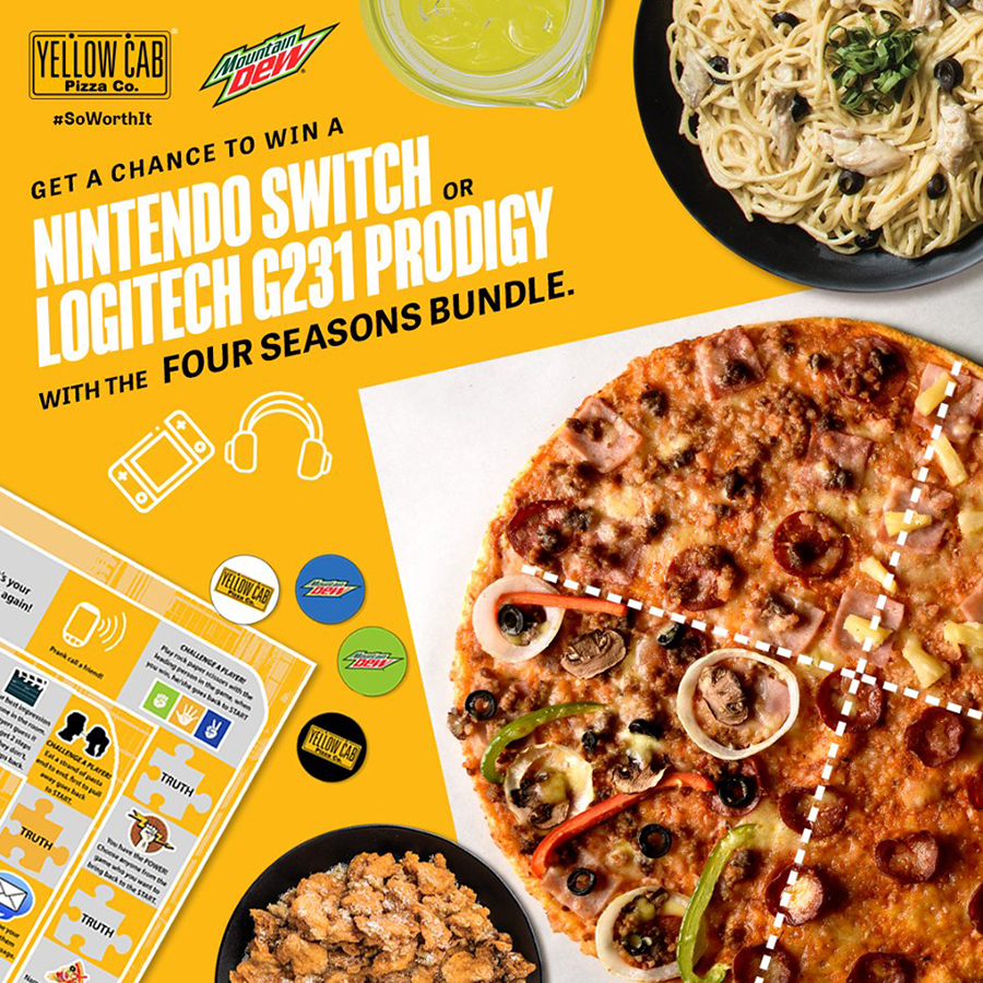 Buy one (1) Four Seasons Bundle at P1,299 and get a FREE limited edition Yellow Cab Gameboard and one (1) raffle entry for a chance to win Nintendo Switch or Logitech G231 Prodigy Gaming headphones! #SoWorthIt