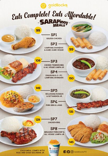 Goldilocks Sarapinoy Meals menu