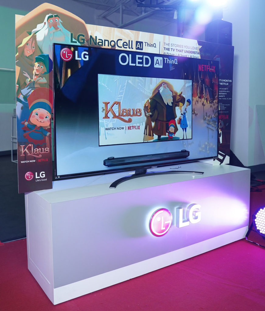 One of several on display LG OLED TV sets at the launch venue