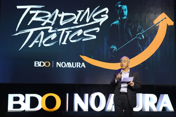 "Trading Tactics. Koichi Katakawa, president of BDO Nomura, opens the first session of ""Trading Tactics,"" which features the SM Group, one of the country's diversified conglomerates. Shown live on BDO Unibank's Facebook page, the video has been played nearly 300,000 times since its October 19 airing."