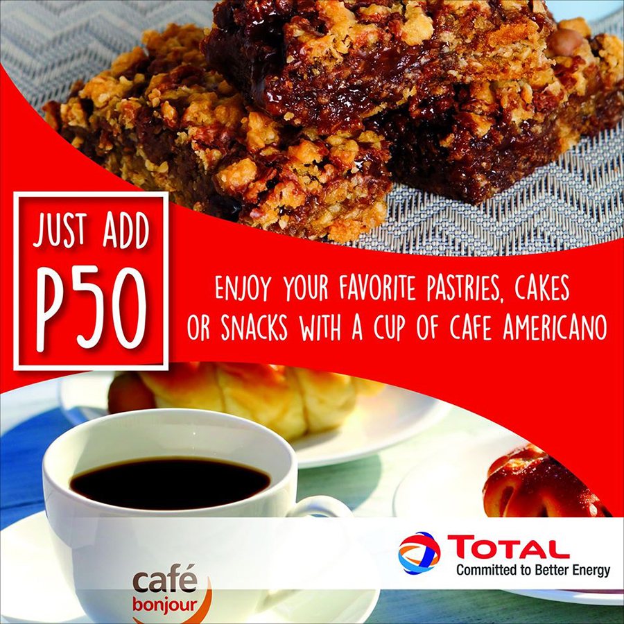 Get a Café Americano for only PHP 50  with your favorite Café Bonjour treats