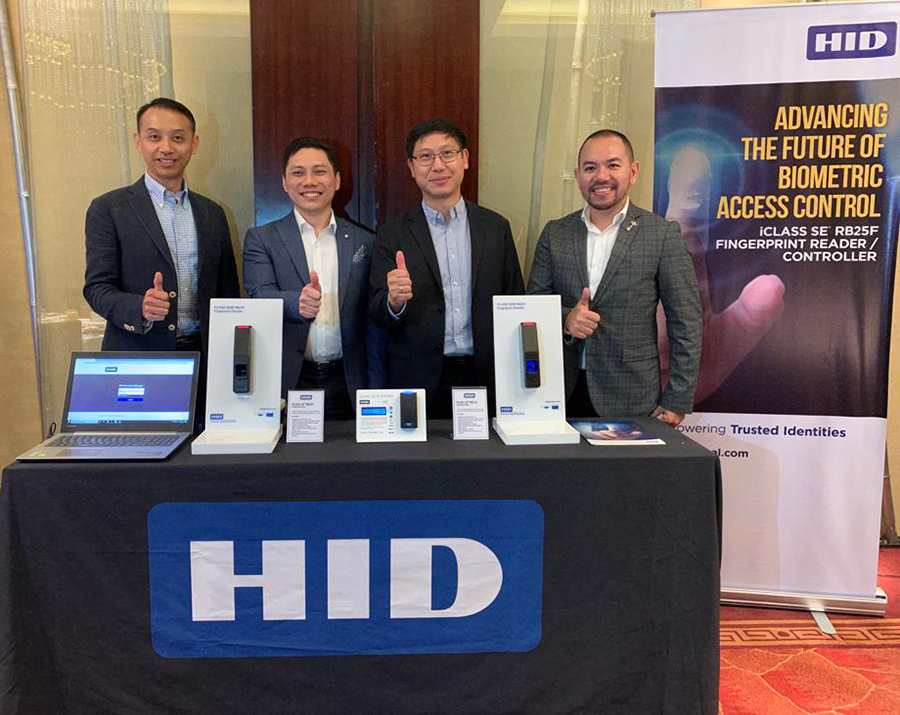 From left to right: Nelson Fung, APAC Product Marketing Manager, Physical Access Control System,  HID Global; Alex Tan, ASEAN Sales Director, Physical Access Control System, HID Global;  Jonathan Co, General Manager, IoT; and Christian Marcos, Regional Sales Manager, HID Global
