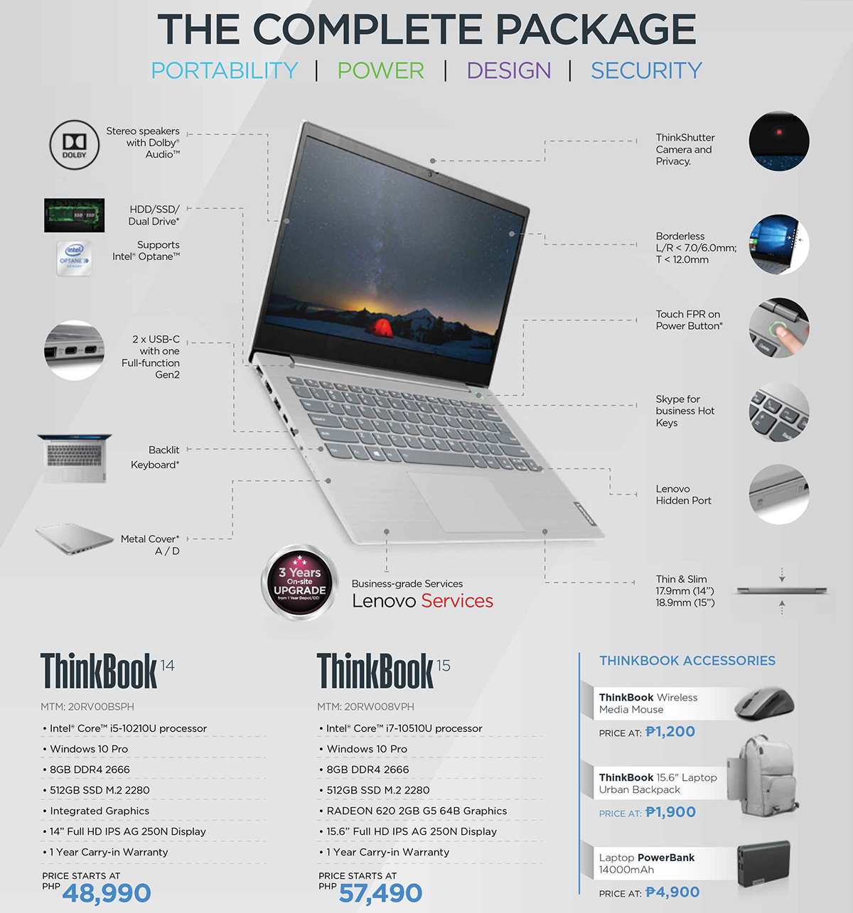 Lenovo ThinkBook 14 and 15 Features