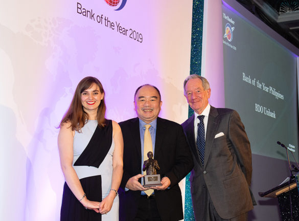 Bank of the Year in the Philippines. Luis Reyes Jr. (center), Executive Vice President and Head of Investor Relations and Corporate Planning Group of BDO Unibank, Inc. receives the Best Bank of the Year in the Philippines Award from Kimberley Long, Asia Editor of The Banker and Michael Buerk, BBC Correspondent.