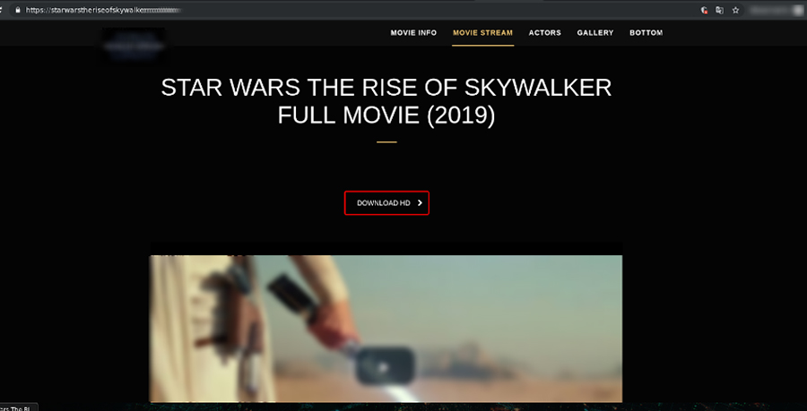 Screenshot of a phishing website set up to look like an official film website