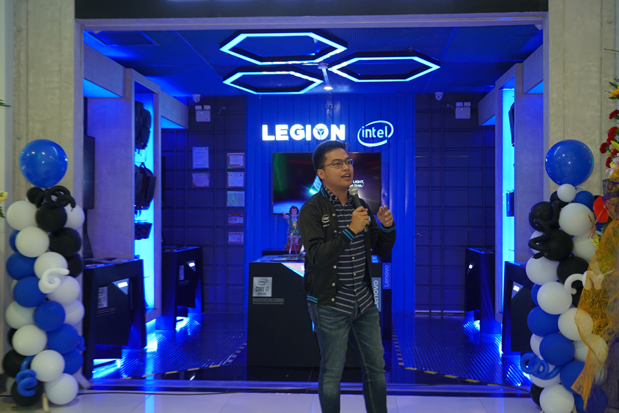 Lenovo Philippines Product Manager for Gaming Tristan Gonzales addresses the audience during the inauguration of Legion Store SM City Clark, the first exclusive Legion store catering to gamers in the Northern and Central Luzon area and third in the Philippines overall.