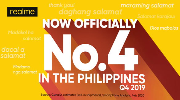 Just a Year in the Making: realme Is PH's Top 4 Smartphone Brand in Q4 2019