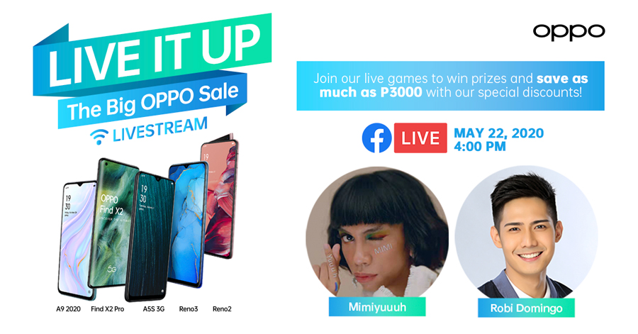 Shop, Play, and Score Fun Prizes at OPPO's #LiveItUp Livestream with Mimiyuuuh and Robi Domingo