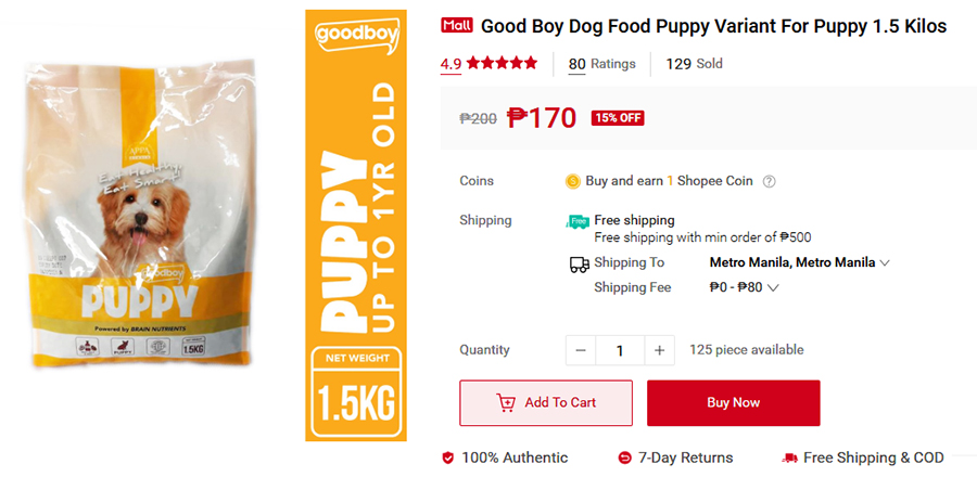 Give your puppies the nutrition they need with Good Boy Dog Food Puppy, available at Shopee