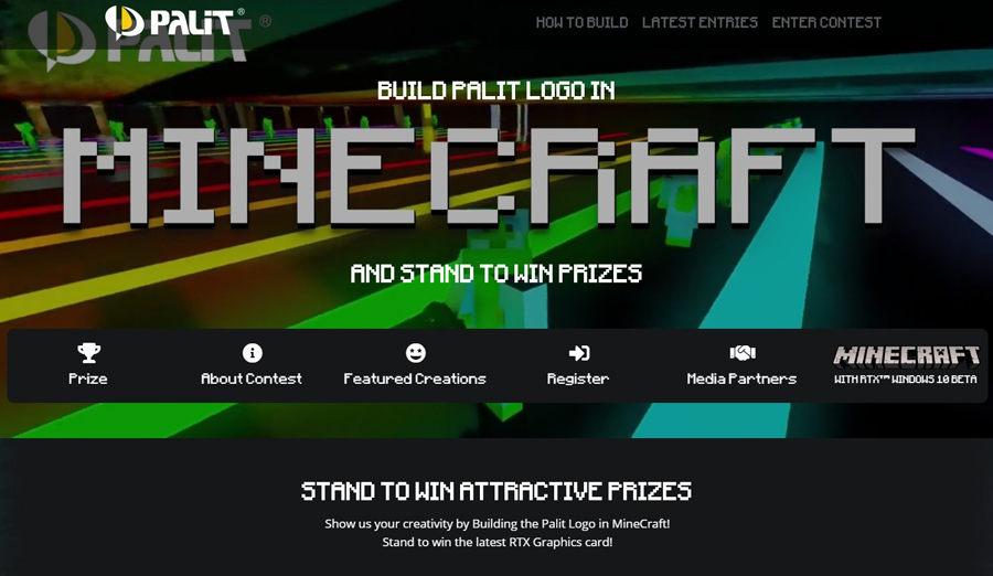 "Win a PALIT GeForce RTX 2080 SUPER GameRock Graphics Card with ""Build a PALIT logo in Minecraft"" Contest"