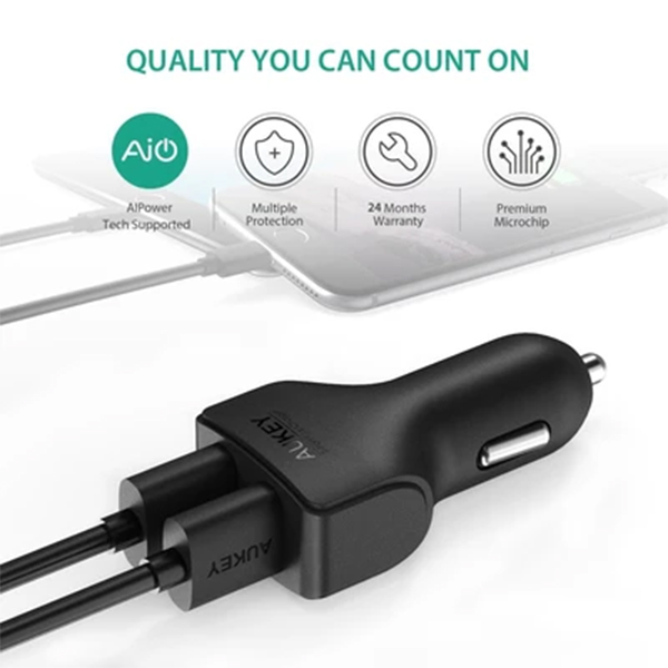 Get the Aukey Dual Port Fast Charge Car Charger at 40% off on Shopee