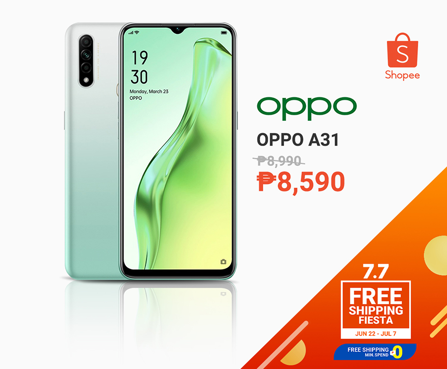Oppo A31 less thank P10k at Shopee 7.7 sale