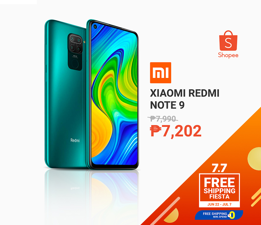 Xiaomi Redmi Note 9 for less than P10k at Shopee 7.7 sale