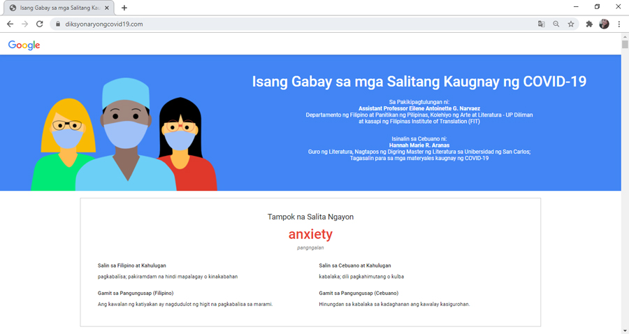 Google Philippines Launches a Site of COVID-19-Related Terminologies in Filipino and Cebuano