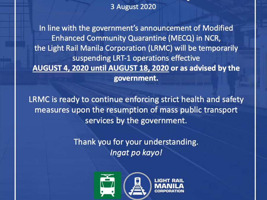 LRMC Advisory on LRT-1 Operations in Line With MECQ Announcement