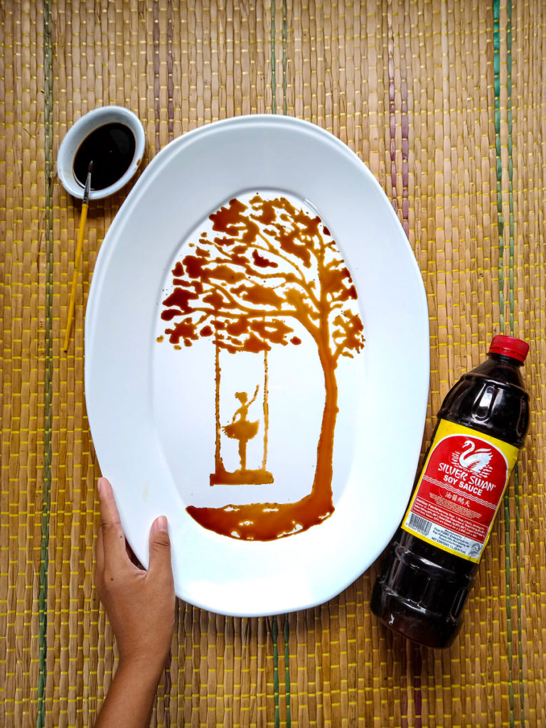 Quarantine Creativity: 19-Year-Old Cebu Student Uses Soy Sauce to Make Art