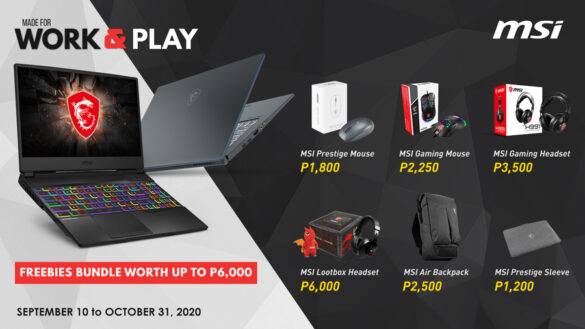 MSI Gaming Work and Play Promo Launched for September 2020
