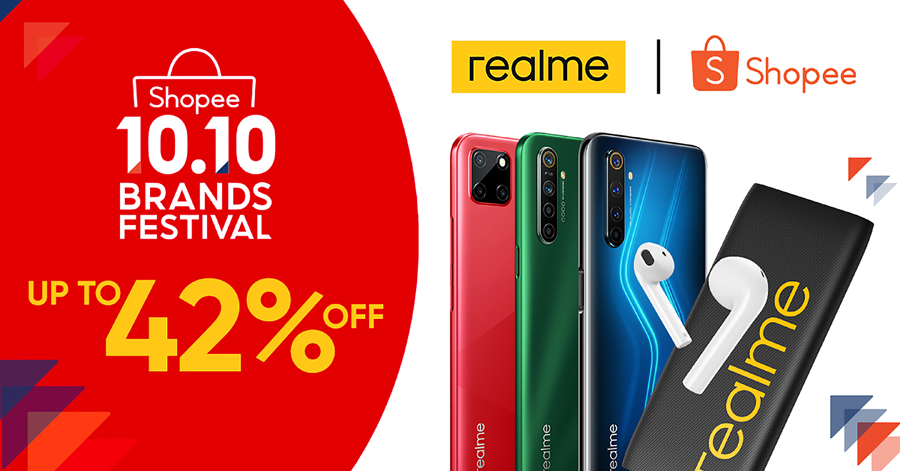 Discounts up to 42% await realme fans at Shopee 10.10 Brand Festival Sale