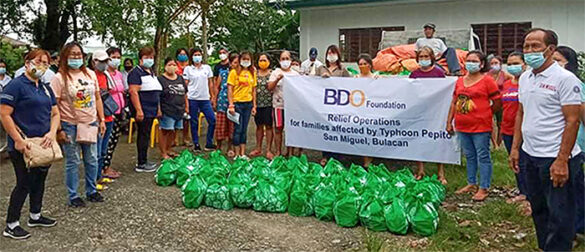 BDO Foundation aids areas hit by Typhoons Pepito and Quinta. In line with its disaster response advocacy, BDO Foundation immediately sent relief packs containing food, rice and drinking water to more than 14,000 families stricken by Pepito and Quinta in Bulacan, Pampanga, Nueva Ecija and Quezon—provinces hit hardest by the typhoons.