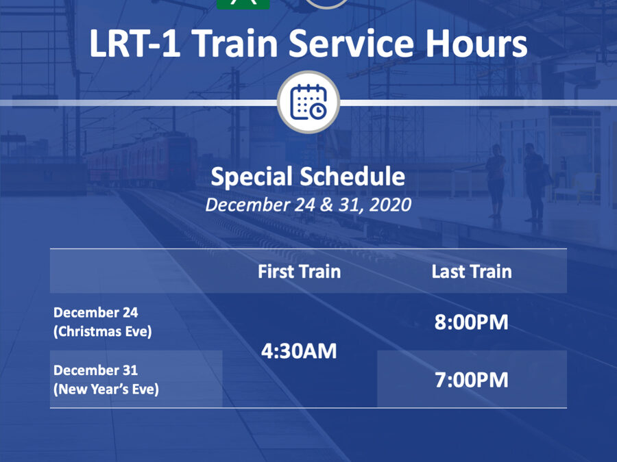 LRMC announces LRT-1 schedule for December holidays
