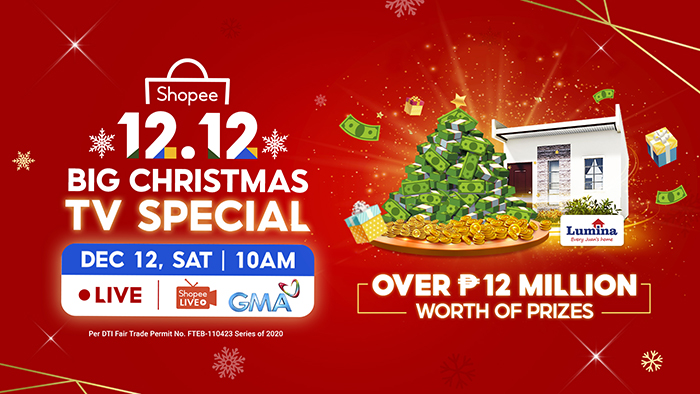 Get a Chance to Win Over ₱12 Million Worth of Prizes by Tuning in to Shopee's 12.12 Big Christmas TV Special