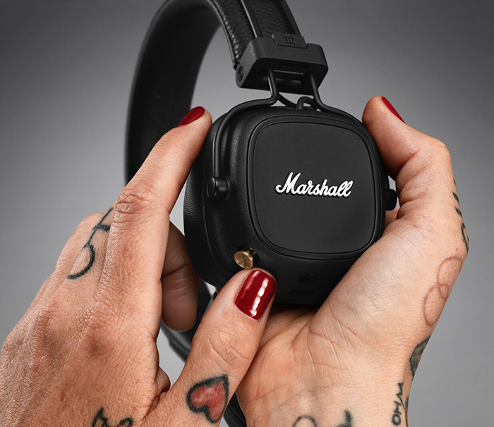 Marshall Major IV features 80+ hours of wireless playtime, wireless charging, and control knob – available at Digital Walker and Beyond the Box