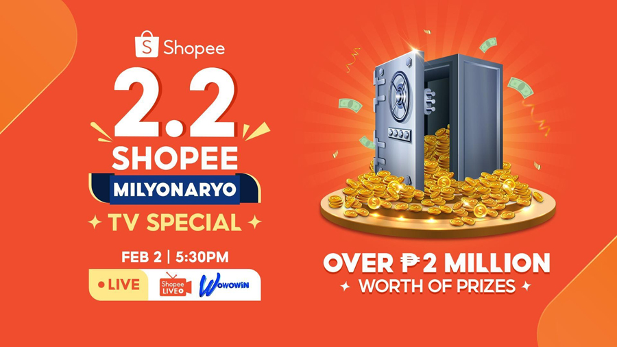 You Can Win Over ₱2M Worth of Prizes during Shopee's 2.2 Shopee Milyonaryo TV Special