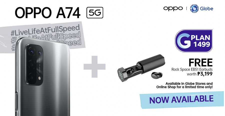 New OPPO A74 5G Now Available on Globe's GPlan1499