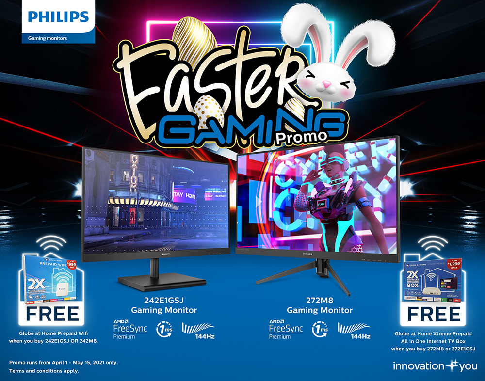 For every single-receipt purchase of Philips 242E1GSJ or Philips 242M8 Gaming monitor, buyers can get a free Globe at Home Prepaid Wifi. Additionally, they can get a free Globe Streamwatch Xtreme Prepaid Wifi for every single-receipt purchase of 272E1GSJ and Philips 272M8.