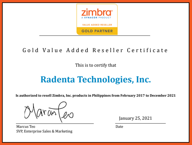 Radenta Technologies, one of the country's leading IT solutions integrators is now the sole Gold Partner for Zimbra in the Philippines.