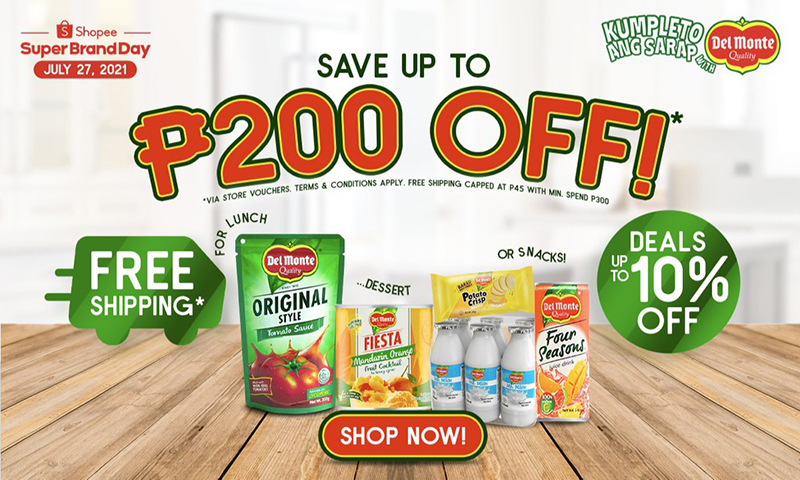 Shop on Del Monte Brand Day on Shopee and enjoy up to P9,000 worth of giveaways