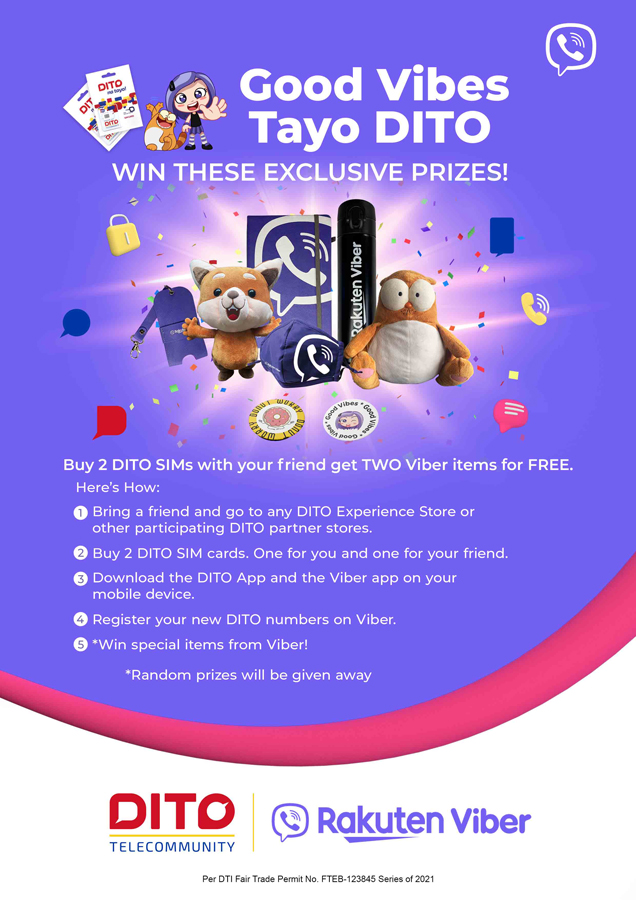 Good Vibes Tayo DITO: Get exclusive premium items from Viber when you purchase your DITO sim with a friend!