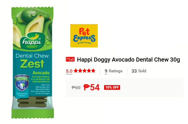 Buy Happi Doggy Avocado Dental Chew 30g on Shopee for P54 (10% off the P60 SRP).