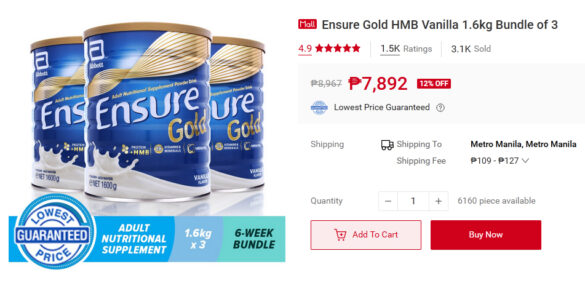 We love our parents and we'd like them to enjoy their old age. We can do that with Ensure Gold with HMB, available on the Abbott store on Shopee. Buy it during the 7.7 Mid-Year Sale now.