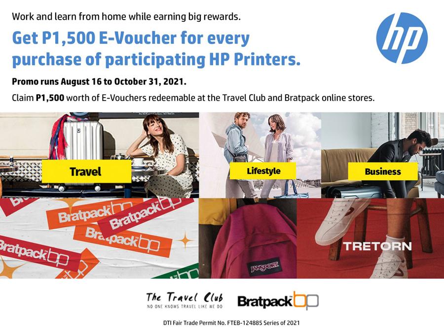 Buy a participating HP printer, get a Travel Club or Bratpack E-Voucher