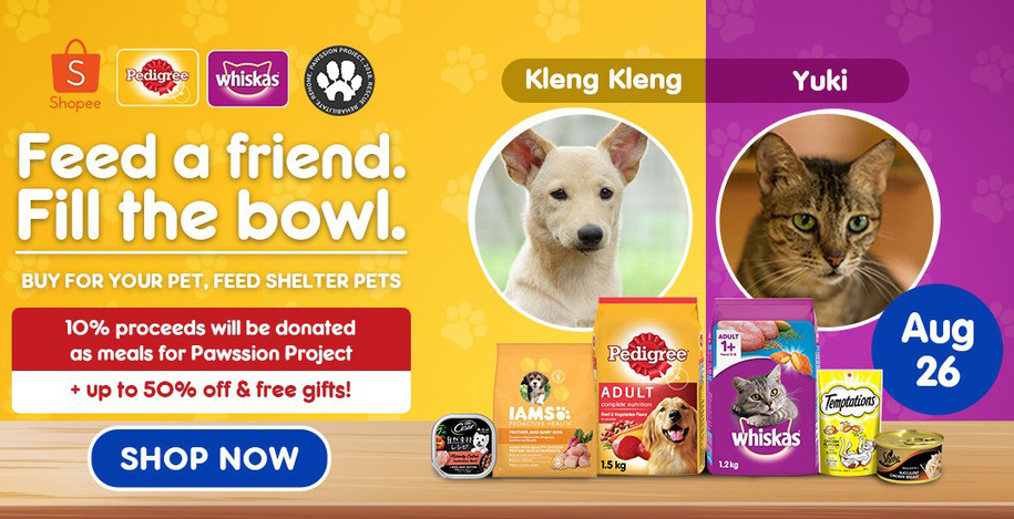 Buy pet food from the Pedigree store on Shopee and help feed pets in shelters