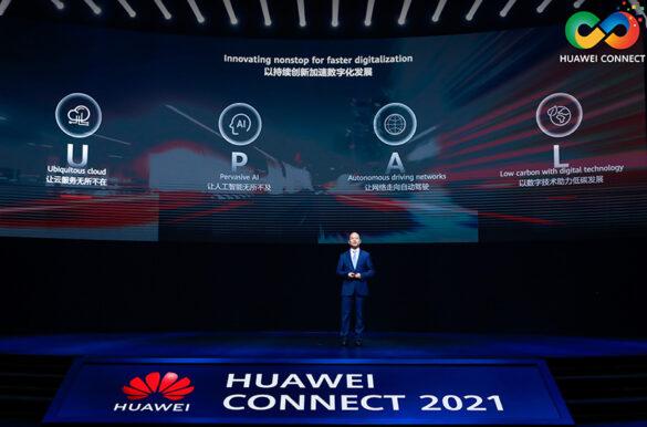 Huawei Rotating Chairman Eric Xu delivers a keynote speech at HUAWEI CONNECT 2021