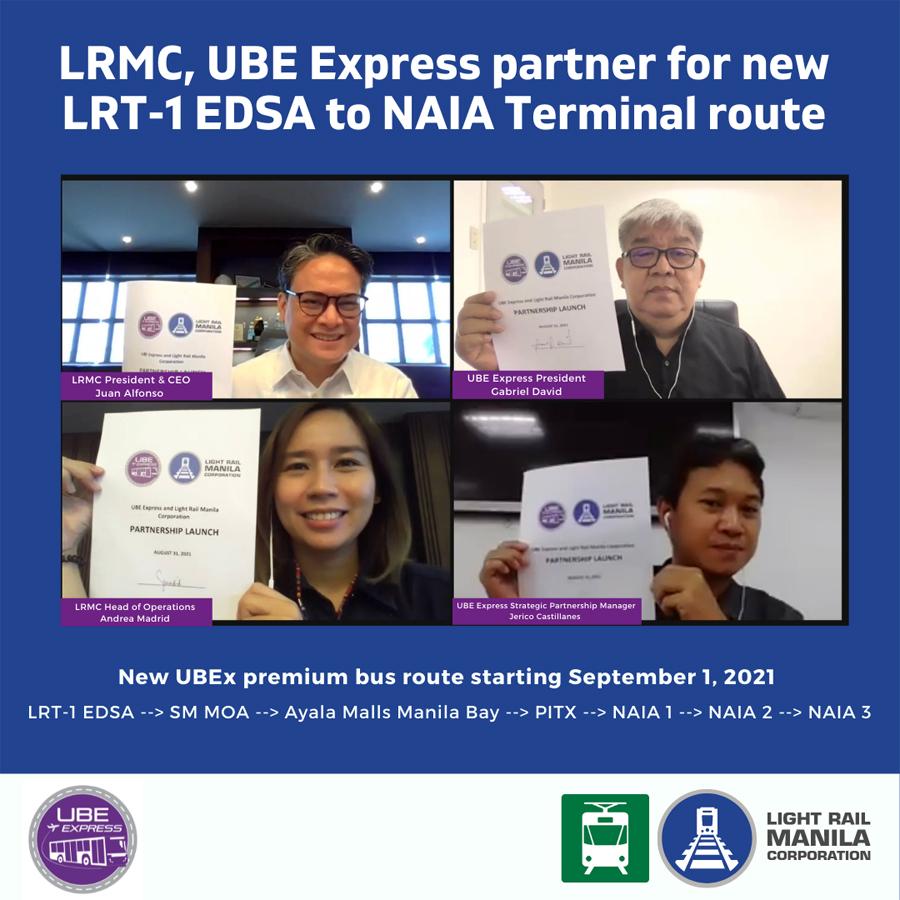 LRMC, UBE Express, Inc. partner for new LRT-1 EDSA to NAIA Terminal route