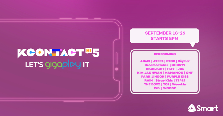 Watch live performances by ITZY, MAMAMOO, Stray Kids, ONF, PARK JIHOON, RAIN, THE BOYZ for free exclusively on Smart's GigaPlay App