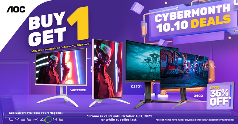 AOC Gaming Monitors at Slashed Prices in the SM Megamall's 2021 Cyber Month Gadget Sale